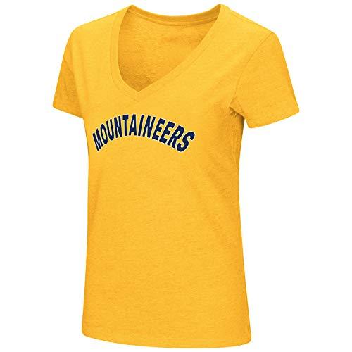 Colosseum Damen NCAA-Valuable Commodity-dual Blend V-Kragen Slim Fit T-Shirt, Damen, West Virginia Mountaineers-Gold, Small -