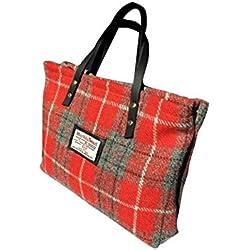 Harris Tweed Edinburgh - Bolso de asas de Lana para mujer Rojo rojo