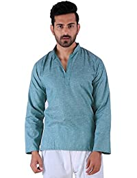 BDS Chikan Cotton Green Kurta for men's Lucknowi Chikan Work - BDS00914