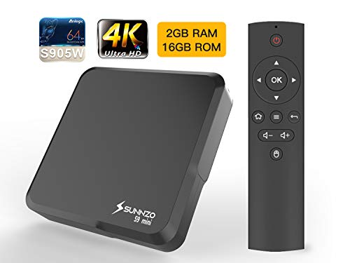 SUNNZO S9 Mini Android 7.1 OS TV BOX/4K Ultra HD Streaming Media Player, 2GB RAM+16GB eMMC, with Amlogic S905W Samsung Original eMMC,WiFi,H.265,LAN 100M (2GB+16GB, Noir)