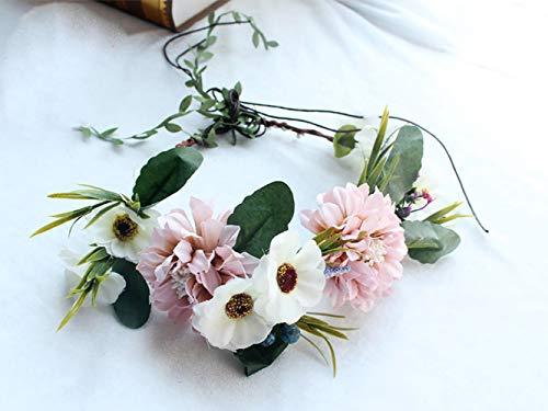 Simsly Boho Blumenkranz Krone Hochzeit Girlande Stirnband Blumen Haar Zubehör für Frauen und Mädchen