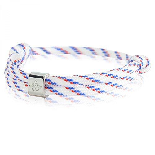 Skipper - Pulsera surfera de nailon con nudos marineros en color blanco, azul y rojo.Marca:Skipper.Material:nailon y acero inoxidable.