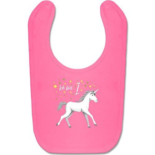 Geburtstag Baby - 1. Geburtstag Einhorn - Unisize - Pink - BZ12 - Baby Lätzchen Baumwolle
