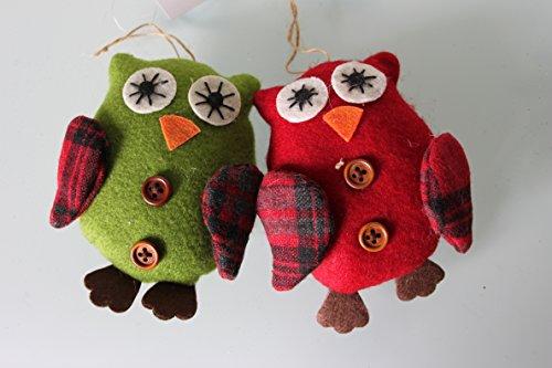 Gisela Graham, diseño de búho de fieltro de Navidad verde y rojo