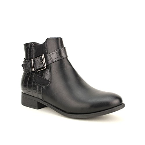 Cendriyon, Bottine Noire Bi matière LARAO Chaussures Femme Noir
