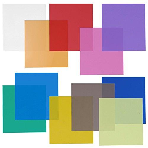 """Neewer 12x12 \""""Transparent Farb Gel Filter Set Packung mit 11 Blatt für Foto Studio Blitz Licht (Grün, Blau, Lila, Rosa, Rot, Hellgrau , Dunkelgrau , Gelb, Beige, frische Grün, Säureblau)"""