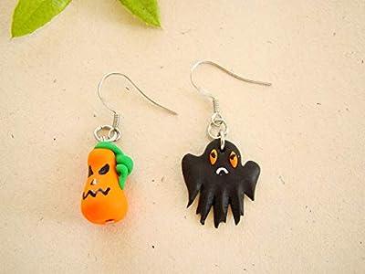 Boucles d'oreilles fimo fantôme citrouille halloween