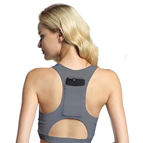 Yvelands Damen Yoga-BH Einteiler Sport-BH atmungsaktiv Fitness 1/2 BH Yoga-BH mit Tasche(Grau,XL)