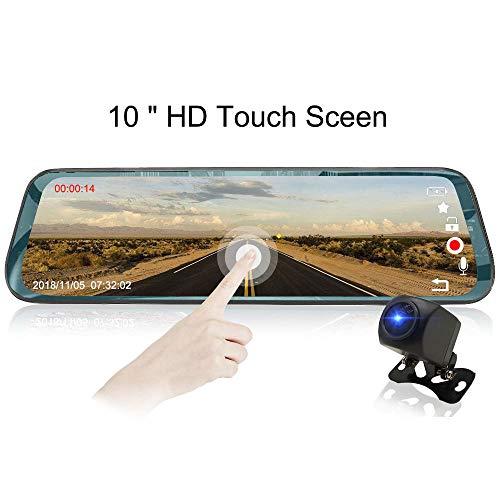 QUARK Mirror Dash Cam 1080P Dual Lens 10 Zoll IPS Touch Screen, Dash Cam Front und Rear View Waterproof Backup Camera 170°Wide Winkel mit G-Sensor Parking Monitor Motion Detection