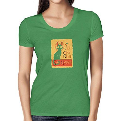 NERDO - Le Chat Noir - Damen T-Shirt, Größe L, grün (Kiki Und Jiji Kostüm)