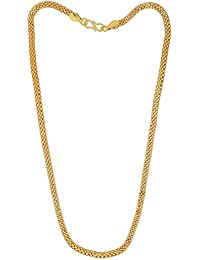 Dzinetrendz 24kt Gold Plated 5mm 22 Inch Hollow Italian Machine Chain Necklace For Men And Women