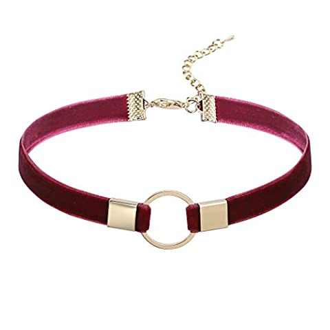 Epinki Women Choker Chain Velvet O-Ring Gothic Pendant Necklace Gold Burgundy Cubic Zirconia, 32.3 + 7