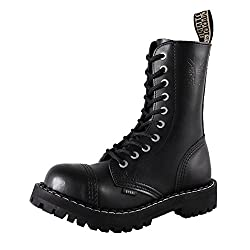 Steels 10 Loch Boots Schwarz, Grösse 40