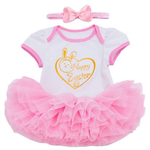 3 Stück Baby Mädchen Kleidung Neugeborene Ostern Prinzessin Outfits Set Osterhase Kurzarm Strampler +Tutu Rock +Stirnband Kostüm/12-24M