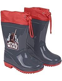 496bd1e6580a9e Perletti Star Wars Regenstiefel für Kinder - Krieg der Sterne Wasserdichte  Stiefel mit Rutschfeste Sohle und Kordelzug - Jungen…