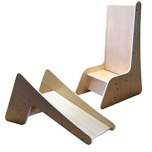 TikTakToo 2in1 Kinderstuhl Kinderrutsche Holz massiv Kleinkindrutsche Babyrutsche Indoor fürs Kinderzimmer Natur Stühlchen für Kinder ab 1 Jahr