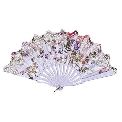 REALIKE Damen Handfächer Blumendruck Chinesischer Stoff Fächer Bambusgriff Wandfächer Hochzeit Party Tanzen Fasching Blüten Japanischer Faltfächer Dekoration Geschenk Tanzabend Karnevals