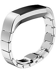 iHee - Banda de repuesto para FitBit Alta, correa de reloj en acero inoxidable, banda de muñeca para reloj inteligente Fitbit Alta, color plateado, moda