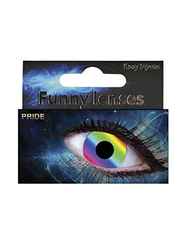 Kostüm Accessoires Zubehör, Kontaktlinsen Tageslinsen Regenbogen Stolz, Day Lenses Rainbow Pride, perfekt für Halloween Karneval und Fasching, Mehrfarbig