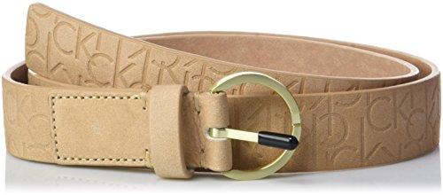 Calvin klein logo embossed belt 3.0cm cintura, marrone (toast 230), 90 donna