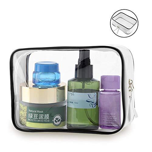 Grande capacité transparente composent le sac, poche imperméable cosmétique de stockage de voyage de toilette de voyage de Zippered de vinyle de PVC imperméable pour des vacances, shampooing