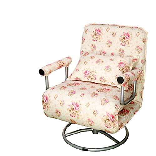 Liziyu Klappsofa Stuhl Cabrio 2-in-1 Bürostuhl Bett Idyllisches Blumenmuster Futon Wohnzimmer Lehnstuhl Stützstruktur für Einzelschlaf...