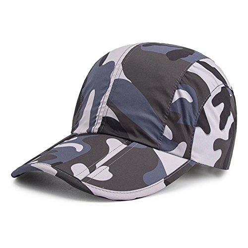 GEEAUASSD Camo Black Camo Hat for Men,Camouflage Caps for Women,Breathable Running Quick Dry Folding Brim Hat Under 10 UV Sun Protection Visor Baseball Hats Adult Outdoor Fishing Golf Baseball Cap (Light Blue Visor)