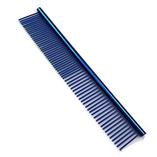 Pet Comb for Dogs,AmamMry 19cm Professional Stainless Steel Grooming Comb Cleaning Comb (Blue)