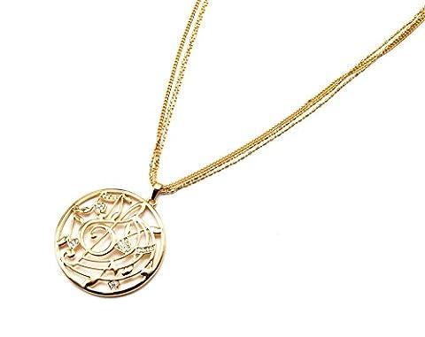 cl1198e Halskette Style Anhänger Kreis Durchbrochenes Noten Musik Strass Gold–Metallkette