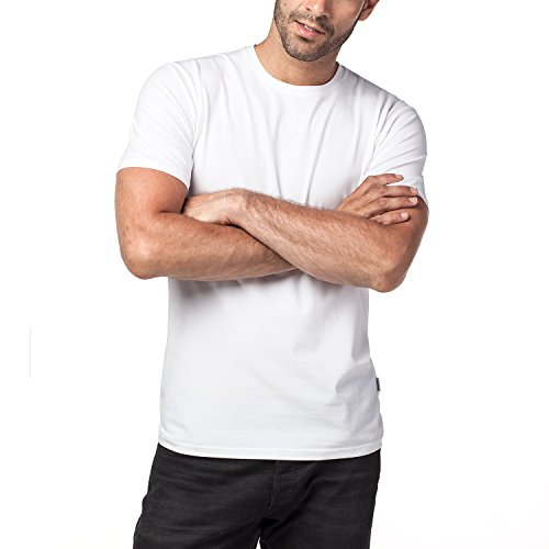 Lapasa Herren T-Shirt, 2er Pack Baumwolle T-Shirt für Herren, Herren T-Shirt mit Rundhalsausschnitt, M005, Weiß, L (Regular Fit) (Weiß Man Elasthan Baumwolle)