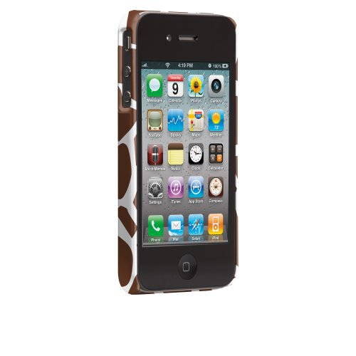 Case-mate iomoi Barely There Designer Cases for Apple iPhone 4/4s - Monkey with Umbrella Giraffe Pattern