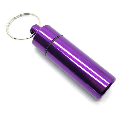 Aribari Schlüsselanhänger. Pillendose aus Aluminium. Hochwertige Tablettenbox. wasserdichte Kapsel für unterwegs. Adress- oder Geschenkanhänger. 6 cm x 1,7 cm. Lila.