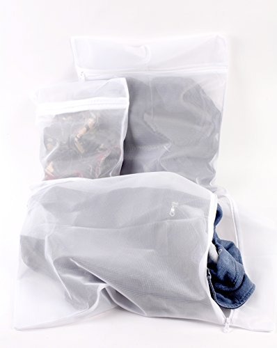 Maria Jane Wäscherei-Ineinander greifen Waschtasche, (3er-Set ) Wäsche- Beutel für Wäsche , Mesh Wäschesack , Waschbeutel für Delicates , Weiss -