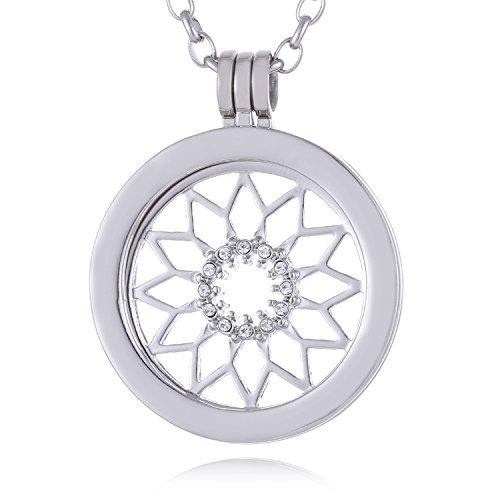Morella Mujeres Collar 70 cm Acero Inoxidable con Amuleto y Colgante Coin 33 mm símbolo del Sol Plateado en Bolsa de la joyería