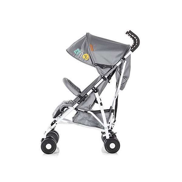 Chipolino pram Ergo 2018, Foldable, 5-Point Safety Belt Front Bracket, Colour:Grey Chipolino Backrest can be adjusted in 2 seat positions by means of belt clip easy to fold; extra long folding top with large visor Handle for easy carrying of the pram 3