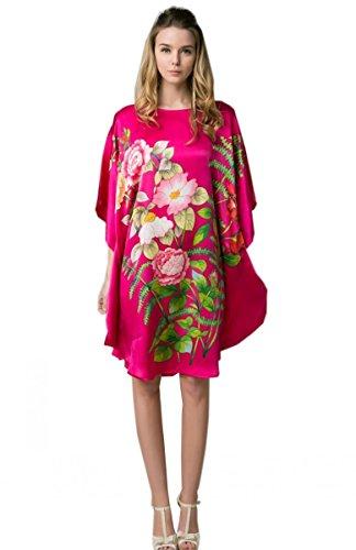 Prettystern - 100% Crêpe Satin de soie Kimono nuisette avec handpainted peinture chinoise YBS102 Pink