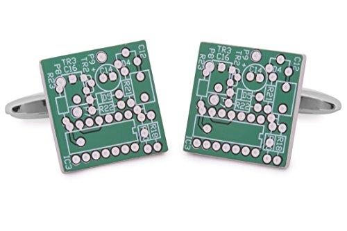 Sologemelos - Boutons De Manchette Micropuce Informatique - Vert - Hommes - Taille Unique