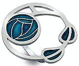 Halstuch-Ring,Emaille, Mackintosh, Rosen und Blätter, türkis