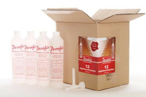 Porofin Horizontalsperre Karton (Inhalt 12 Flaschen) gegen feuchte Wände zum dauerhaften Keller abdichten.