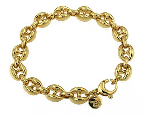 Lourd bracelet chaine grain de café or doublé largeur 10 mm longueur 18 cm Femme Homme Cadeau Bijoux de l'usine italienne tendenze