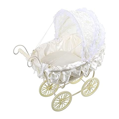 Ornamental Antique Victorian Style Doll's Pram White with Lace
