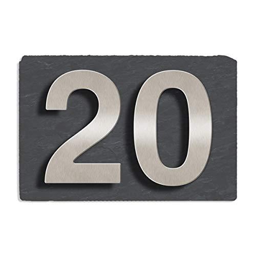 Thorwa® Design Edelstahl Hausnummer auf Schiefer, Hausnummernschild, inkl. Montagematerial / 2 Zeichen / Größe der Schieferplatte: 30x20cm mit zwei Zeichen (fein gebürstete Hausnummer) in Schriftgröße 160mm / Farbe: schiefer grau schwarz