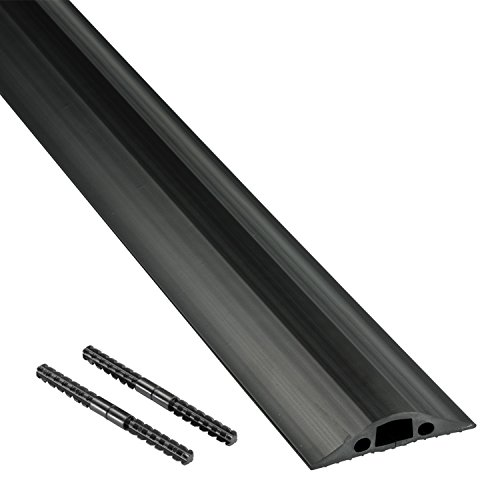 D-Line FC68B | Canaline Per Cavi Elettrici | Canalette Elettriche | Canaline Passacavo Estetiche | Passacavi Calpestabile | Canaline Per Cavi | 14 x 9 mm - 1,8 m Lunghezza - Nero