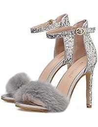 Women Pump 11.5cm Stiletto Open Toe D'orsay Ankel Strap Plush Dress Shoes Wedding Shoes Fashion Pure Color Sequins Belt Buckle Party Shoes Eu Size 34-40
