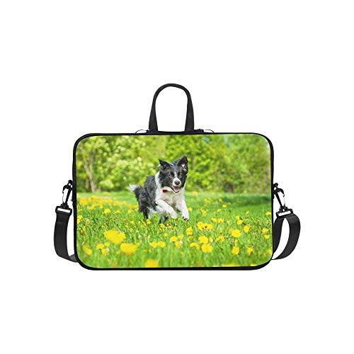 Hund und gelbe Frühlingsblumen Muster Aktentasche Laptoptasche Messenger Schulter Arbeitstasche Crossbody Handtasche für Geschäftsreisen -