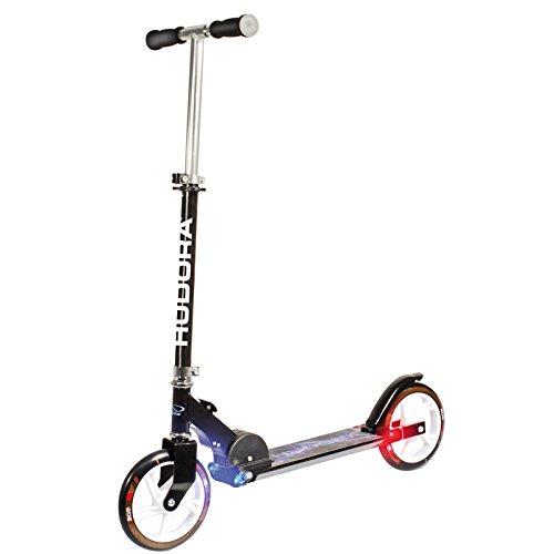 HUDORA Scooter mit Licht L205 schwarz 85x76cm Roller Kickroller Tretroller