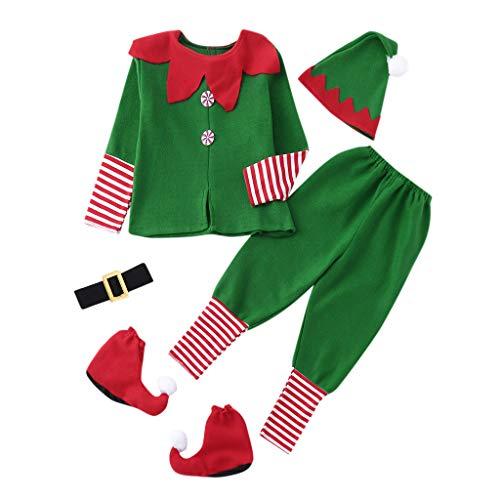 Liqiqi Adulti Bambini Costumi di Natale Costume da Elfo Vestito Famiglia Montato Ragazzo Bambino St. Patrick's Day Pantaloni Cappelli Calzini - Verde Costume di Prestazioni