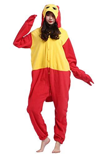 Jumpsuit Onesie Tier Karton Kigurumi Fasching Halloween Kostüm Lounge Sleepsuit Cosplay Overall Pyjama Schlafanzug Erwachsene Unisex Hummer for Höhe 140-187CM
