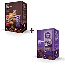Yogabar Protein Bar Variety Box - 6 x 60 g (Box of 6 bars) and Baked Brownie Protein Bar- 6 x 60 g (Box of 6 bars)