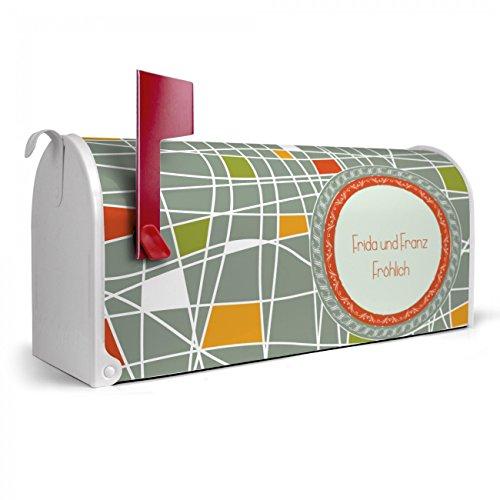 BANJADO US Mailbox | Amerikanischer Briefkasten 51x22x17cm | Letterbox Stahl weiß | mit Motiv WT Kreuz und Quer, Briefkasten:mit schwarzem Standfuß